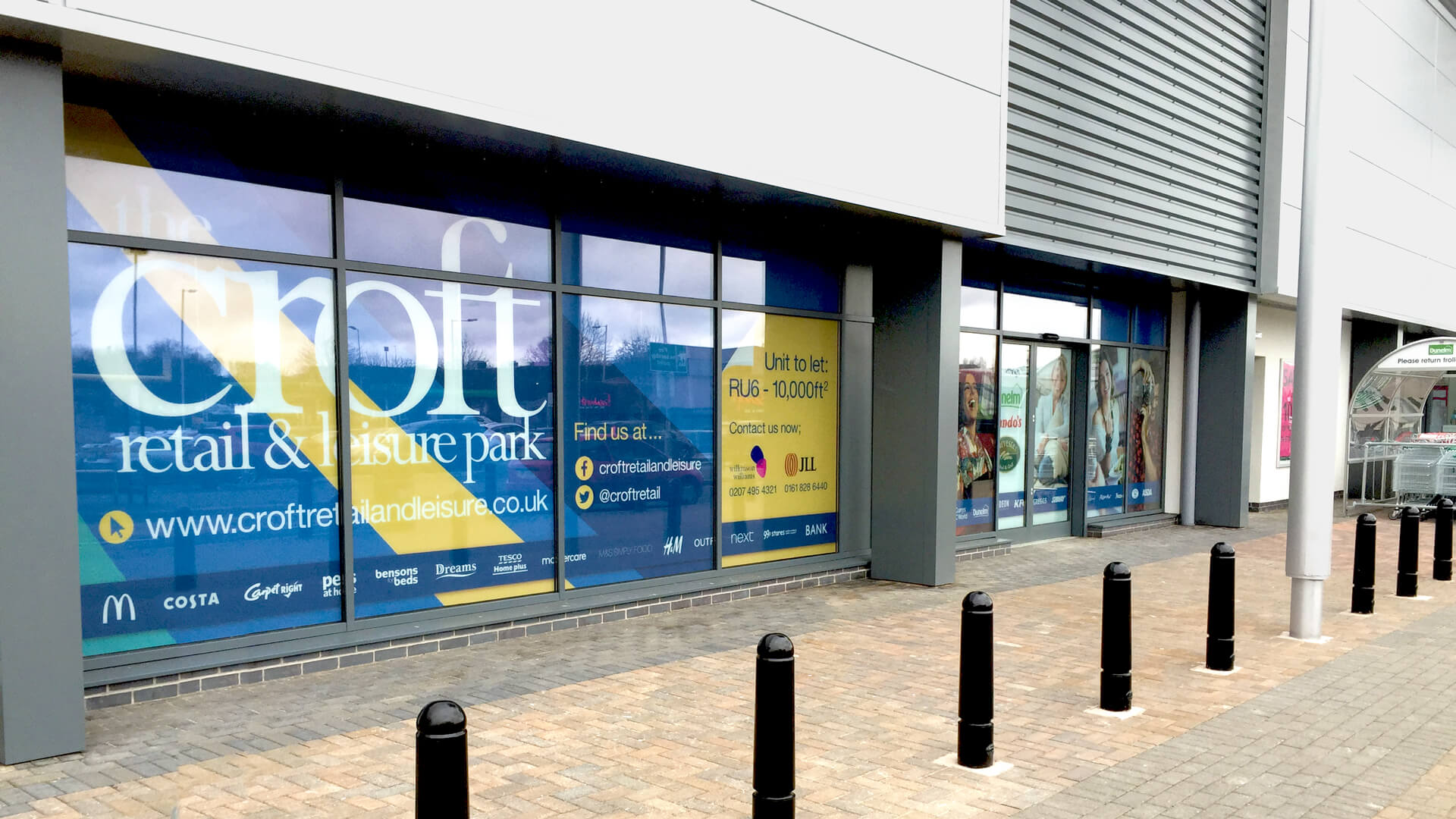 Croft Retail & Leisure Park Hoarding Design & Window Vinyls